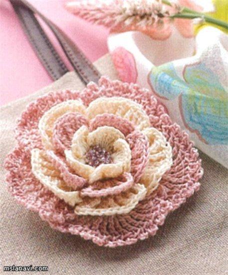 Вязание крючком цветочки схемы - розовый цветочек