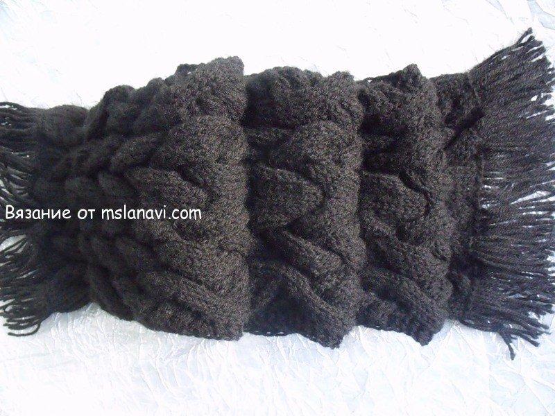 Схема №1: Теплый вязаный шарф