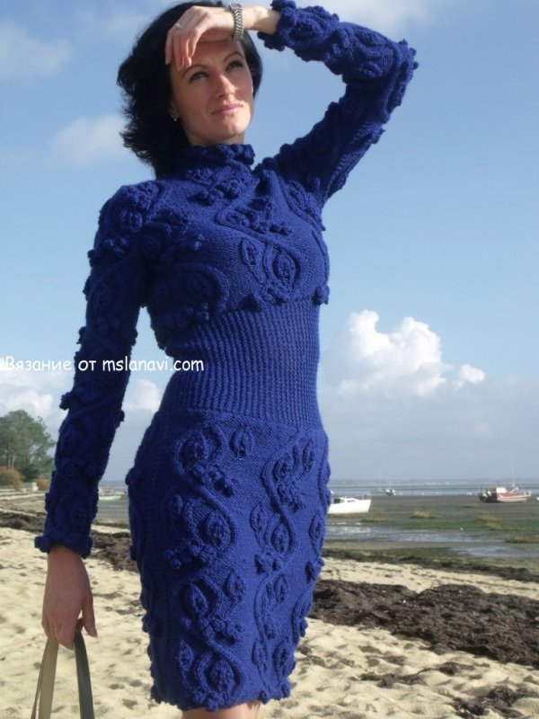 Вязаное платье спицами «Ирина»