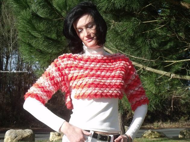 Пуловер с короткими рукавами в чешуйках