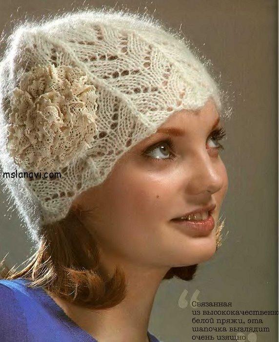 ажурная шапочка спицами