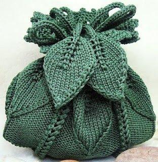 вязаная сумочка листики
