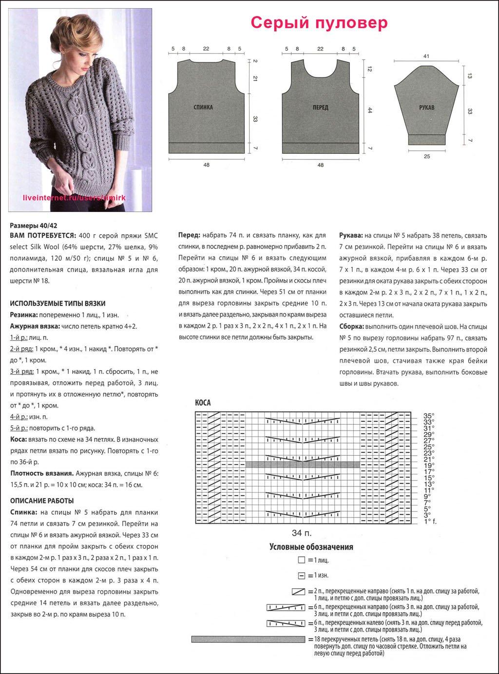 Вязание спицами для девушки с описанием и схемами бесплатно