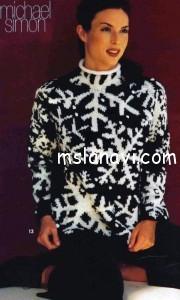 вязаный пуловер со снежинками