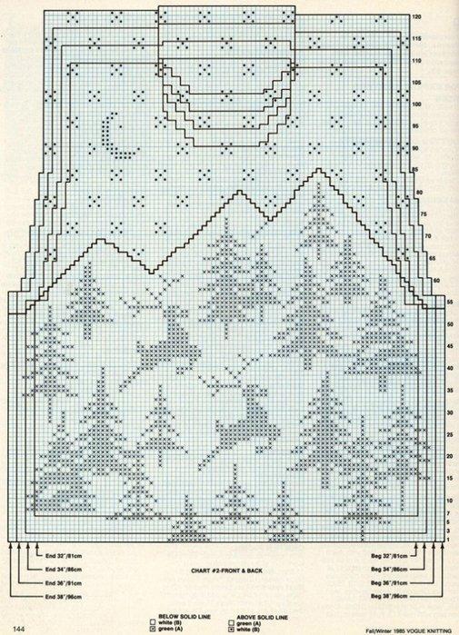 Схема полувер с оленем