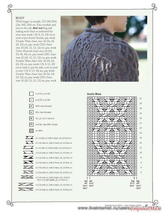 Вязание мужского свитера с аранами спицами 407
