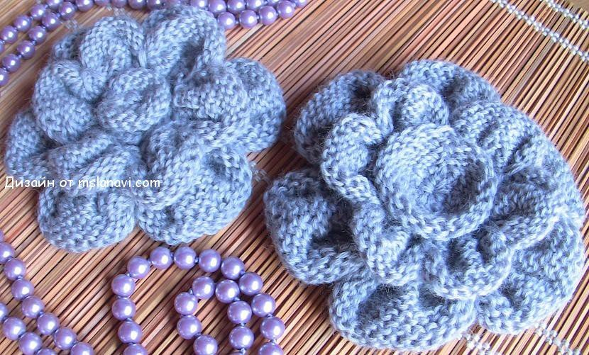 вязаные цветы спицами от mslanavi.com