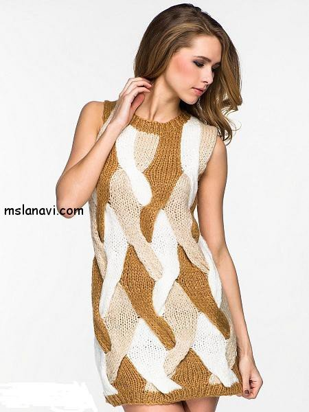 вязаные платья спицами фото 12