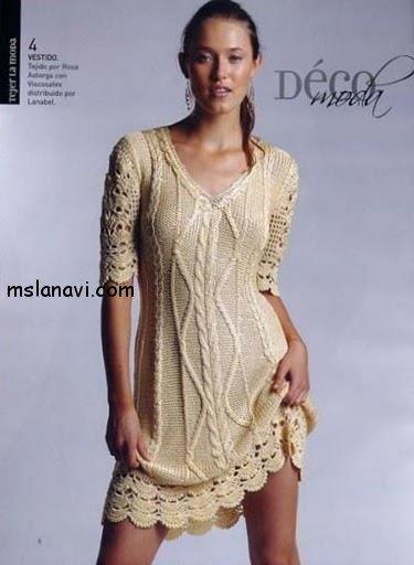 вязаные платья спицами фото 14