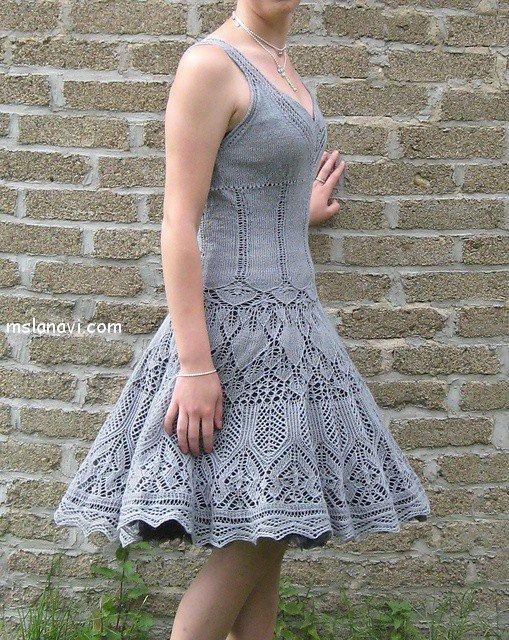 вязаные платья спицами фото 16