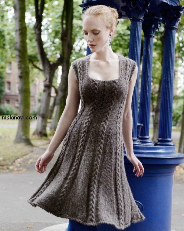 вязаные платья спицами фото 18