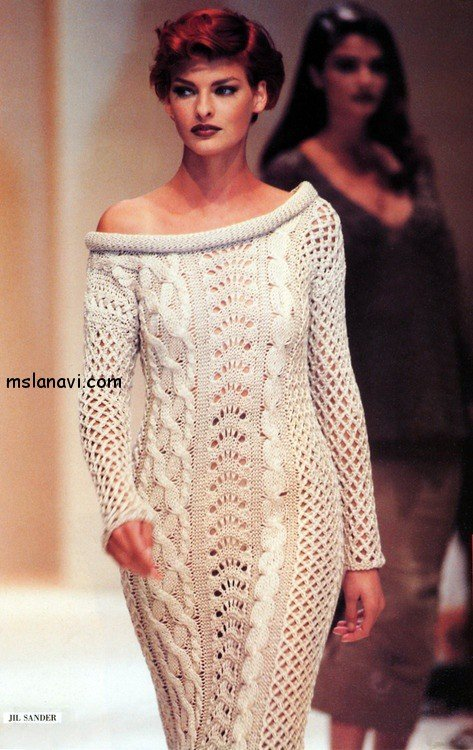 Вязаное платье  Linda Evangelista Jil Sander 1992