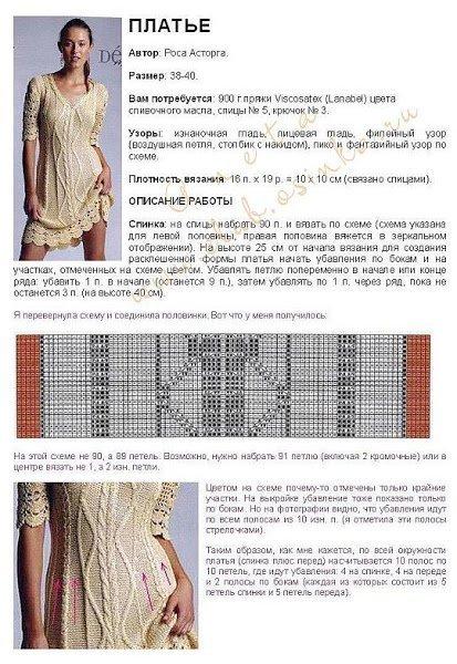Красивое платье спицами и крючком