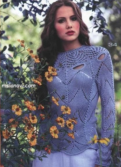 летние ажурные пуловеры на кокетке