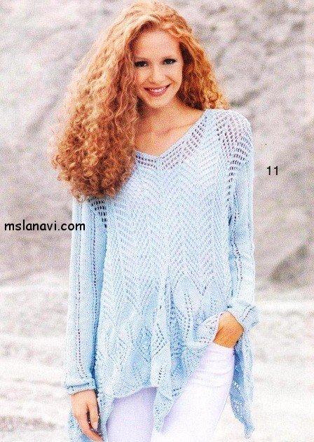 ажурный пуловер спицами с описанием и схемами