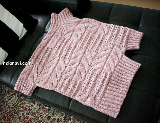 оригинальный пуловер спицами со схемой