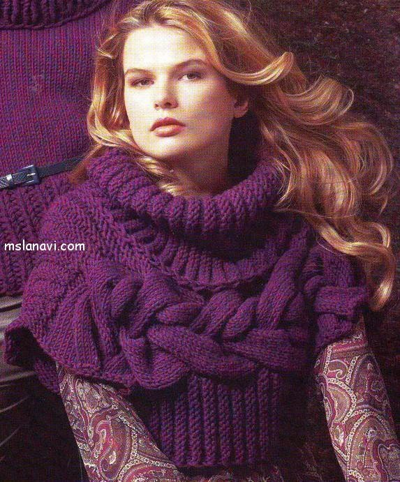 Вязаный пуловер с широкими косами с описанием