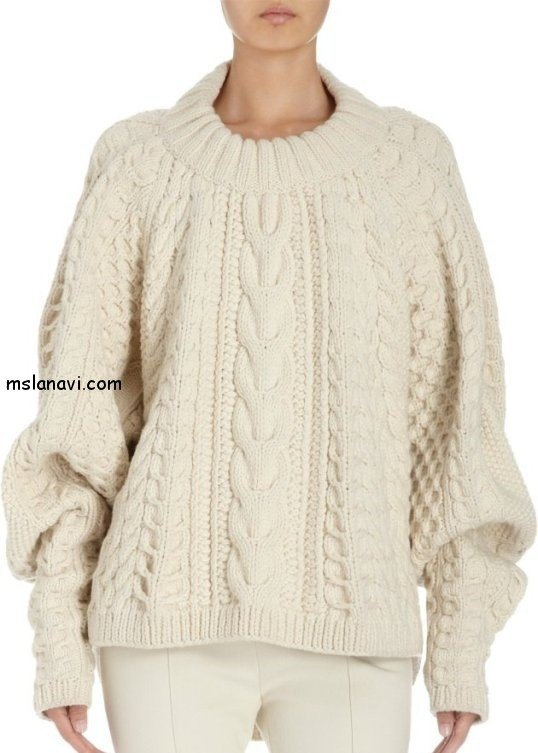 вязаный пуловер спицами со схемами