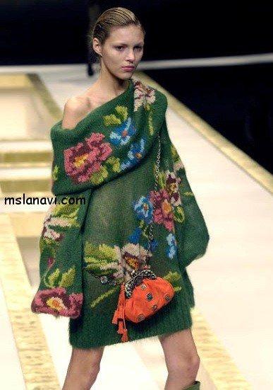 вязаный пуловер с розами от KENZO