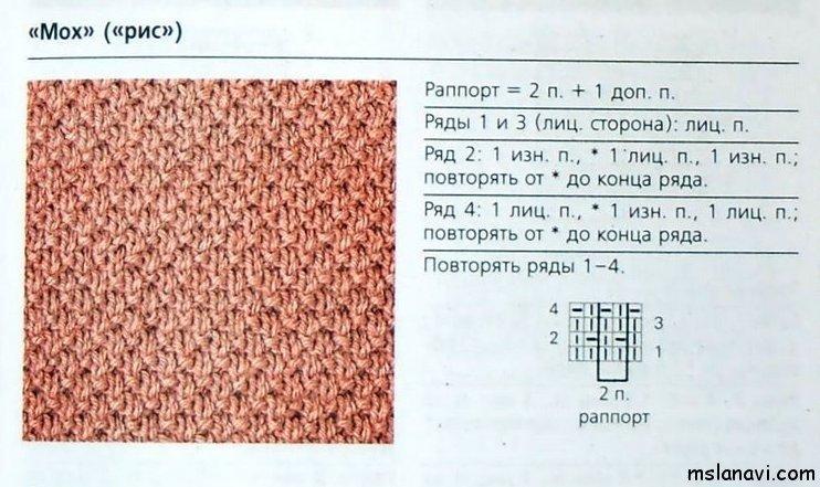 Узор рис в вязании схема 169