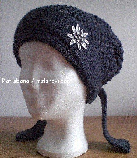 вязаная шапка-бандана 3