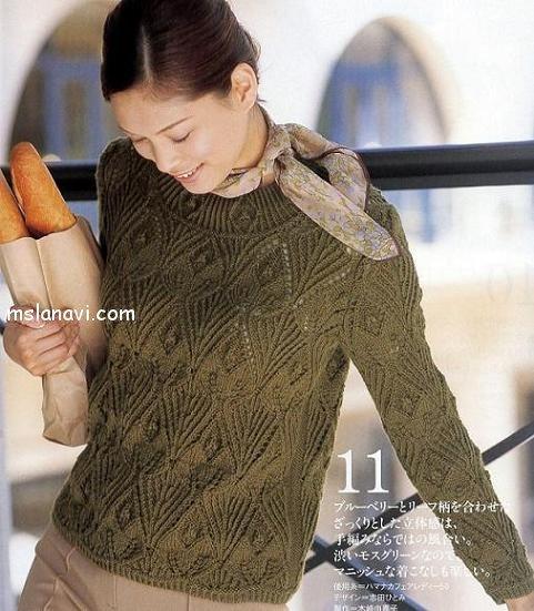 вязаный пуловер со схемой