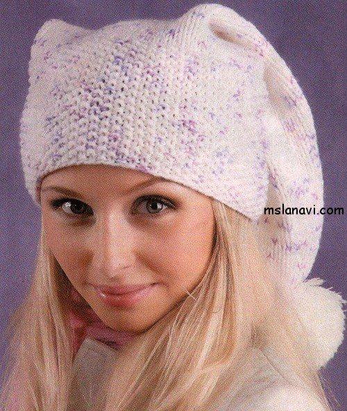 вязаная шапка-колпак лицевой гладью