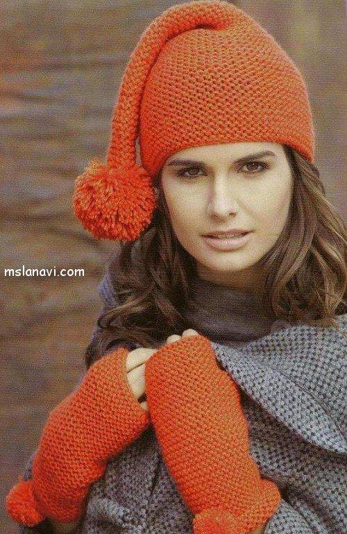 вязаная шапка-колпак платочной вязкой