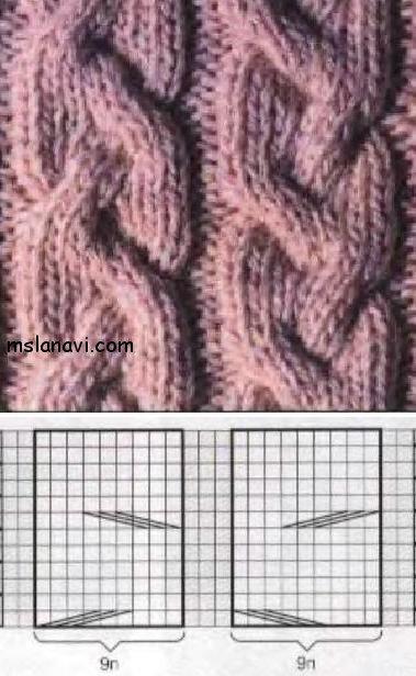 пальто спицами с капюшоном узор 1