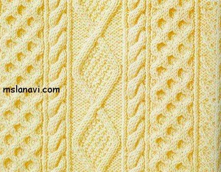 рельефный узор спицами 35 вяжем с лана ви