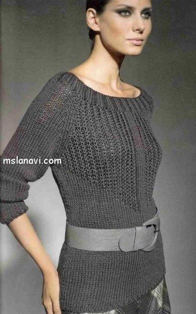 серый пуловер спицами