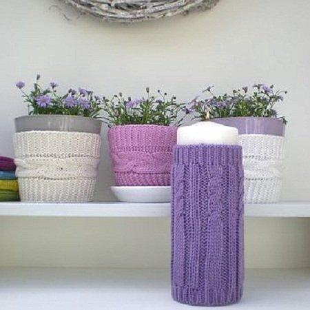вязаные чехлы для цветочных горшочков 4