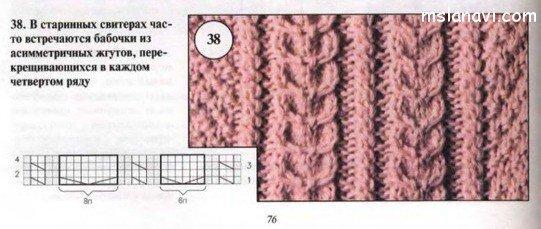 Вязание спицами схема мотыльки и косы 55