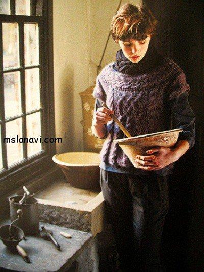 пуловер с косами спинка Rowan