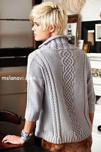 пуловер с косами спинка