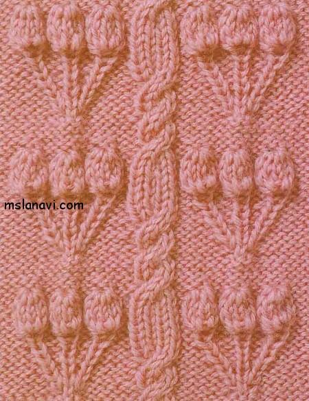 рельефный узор спицами