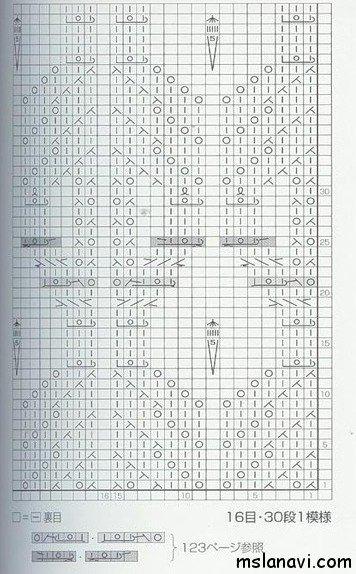 Ажурный узор спицами №66