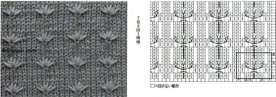 Схема вязания узор колосок 50