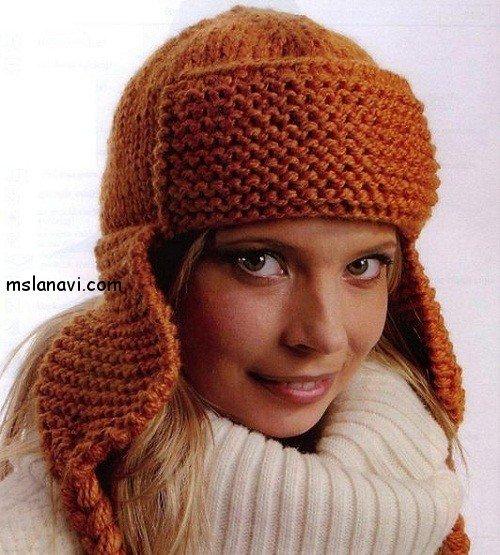 шапка ушанка спицами