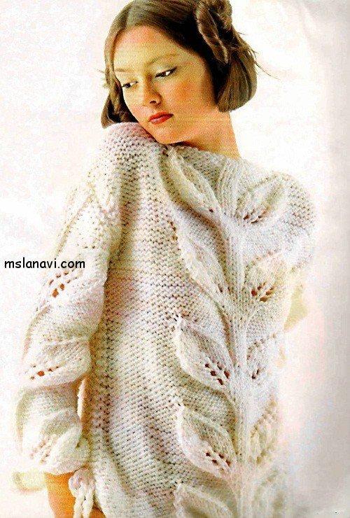 Женские пуловеры с листьями 8