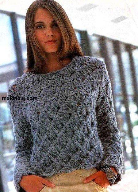 Вязание теплый жакет для женщин 956