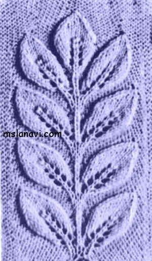 узоры вязание на спицах листья 1