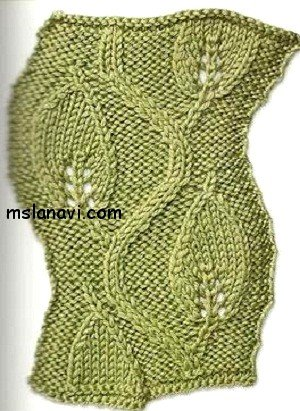 узоры вязание на спицах листья 2