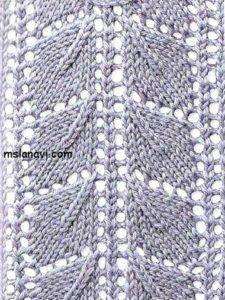 узоры вязание на спицах листья