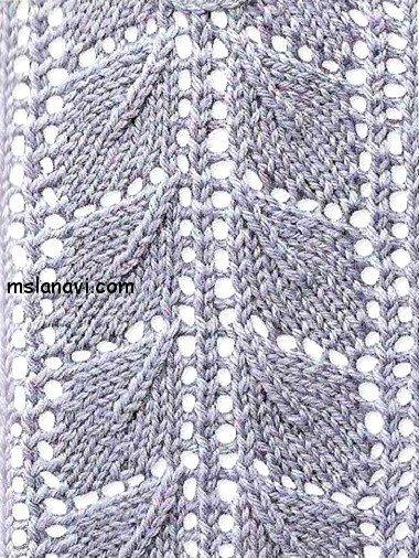узоры вязание на спицах листья 4