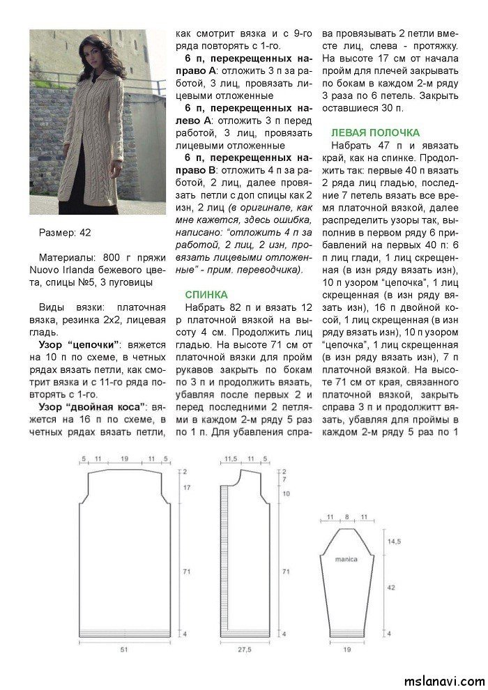 Вязание кардиганов и пальто с описанием 438