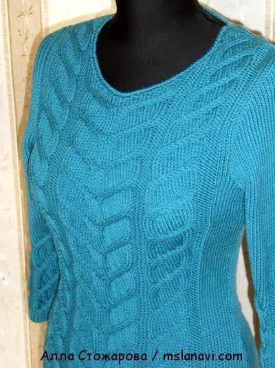 красивое вязаное платье спицами 3