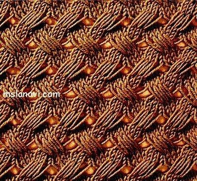 узор спицами со спущенными петлями