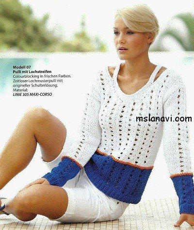 Летний пуловер в сине-белых ажурных полосах