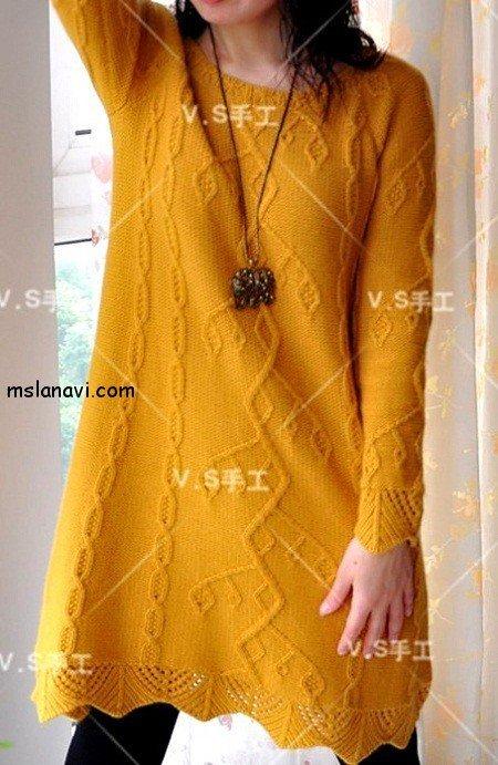 вязаные модели спицами со схемами платье